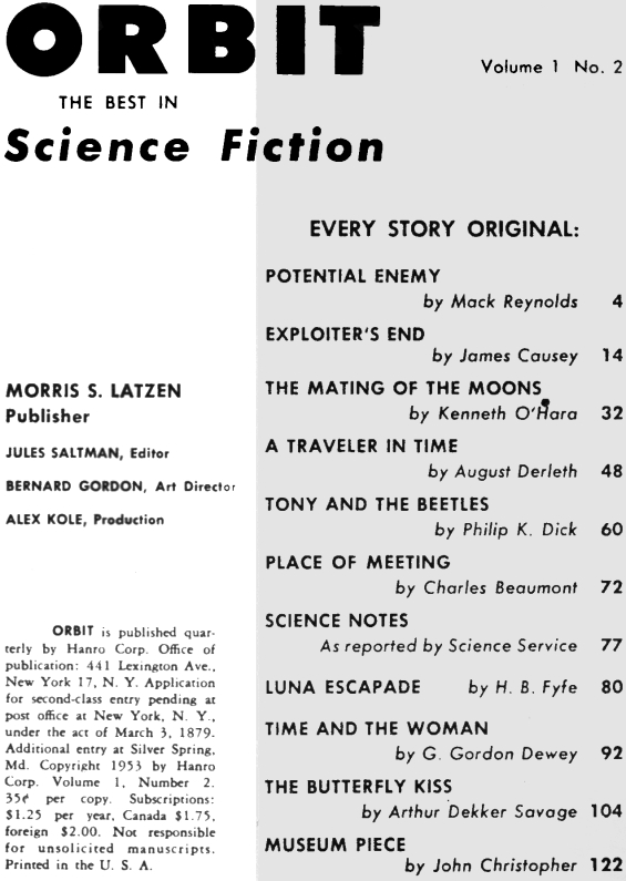 Orbit, No.2, Table of contents (includes Tony And The Beetles by Philip K. Dick)
