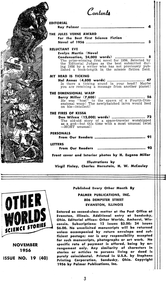 Other Worlds, November 1956 - table of contents