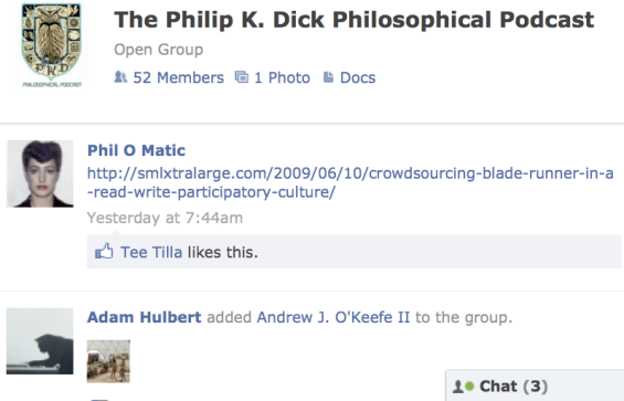 PKD Philosophy Podcast Facebook page