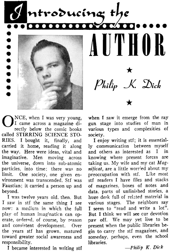 Introducing The Author: Philip K. Dick - from the February 1953 issue of Imagination