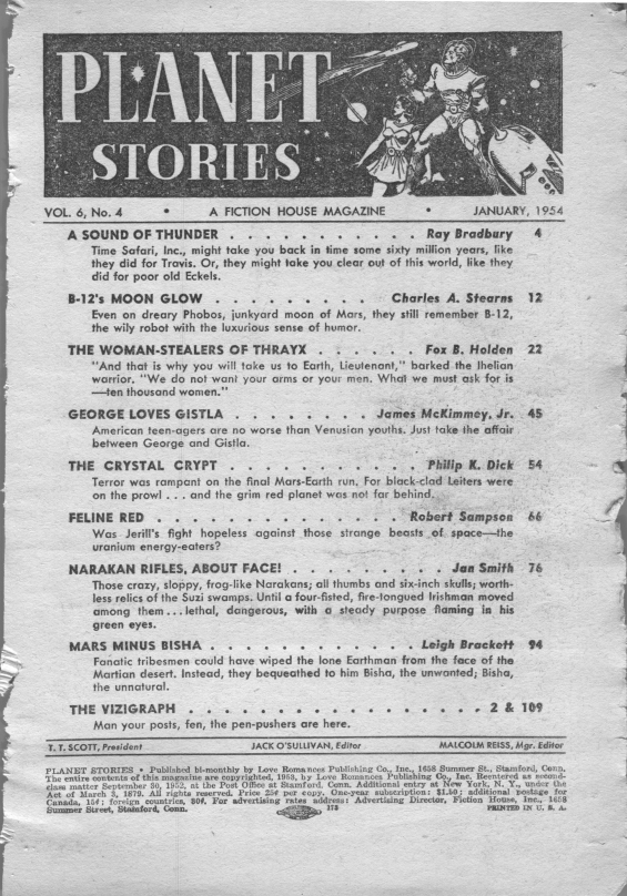 Planet Stories, January 1954 - Table of contents (includes The Crystal Crypt by Philip K. Dick)