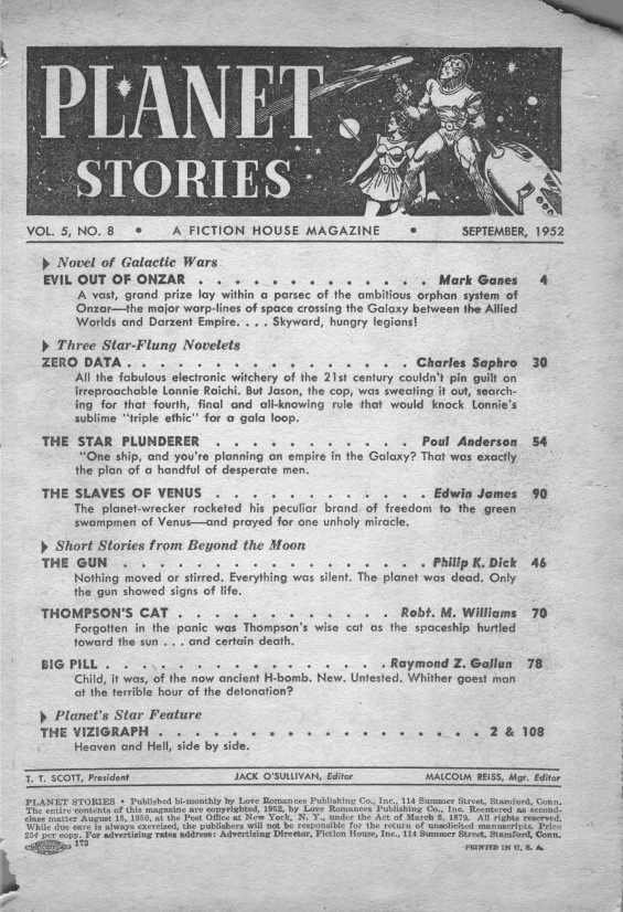 Planet Stories, September 1952 - Table of contents (includes The Gun by Philip K. Dick)