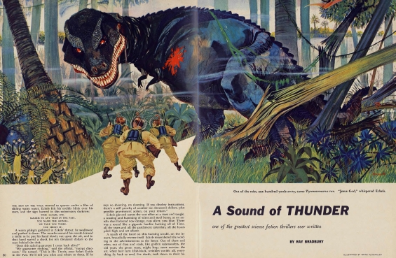 Playboy, June 1956 - A Sound Of Thunder by Ray Bradbury - illustrated by Franz Altschuler