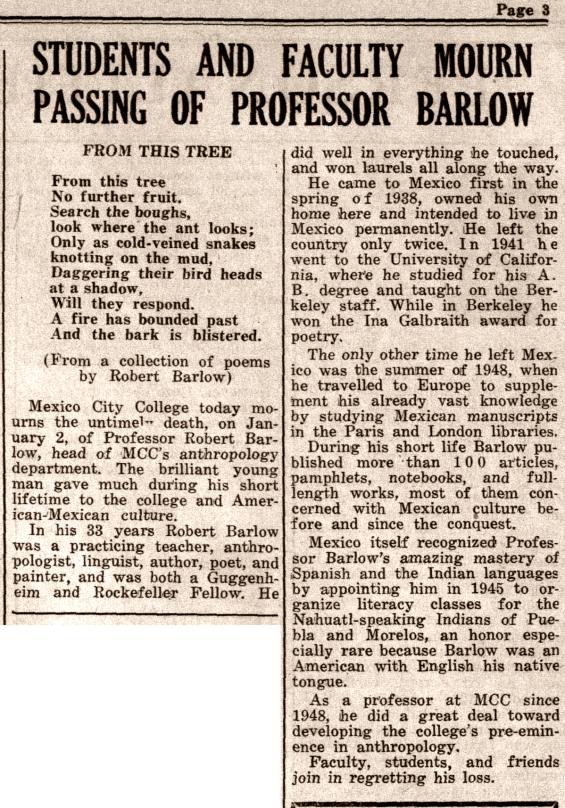 R.H. Barlow, newspaper obituary, 1951