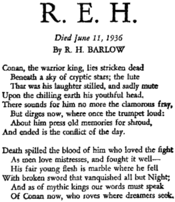 R.E.H. by R.H. Barlow