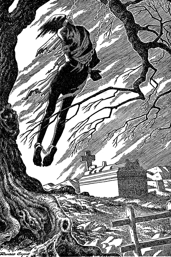 Ronald Clyne illustration of The Highwayman (from Famous Fantastic Mysteries, December 1944)