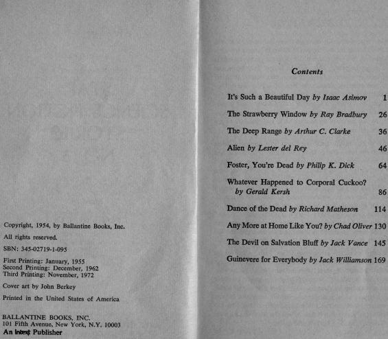 Star Science Fiction Stories No. 3 – copyright and table of contents (includes Foster, You're Dead by Philip K. Dick)
