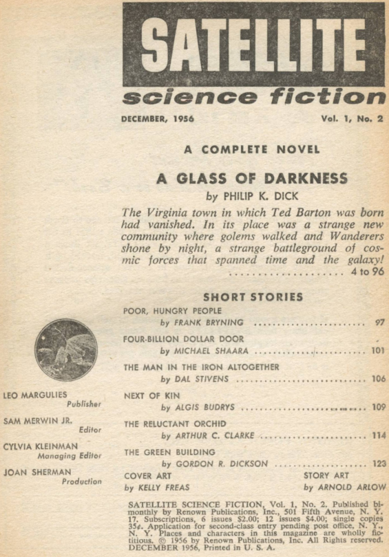 Satellite Science Fiction, December 1956 - table of contents (includes A Glass Of Darkness by Philip K. Dick)