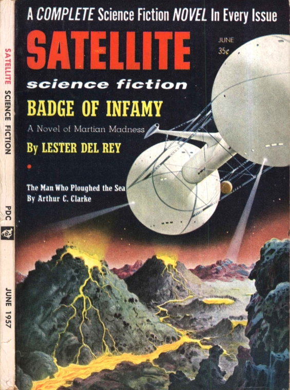 Satellite Science Fiction, June 1957 - cover illustration by Alex Schomburg