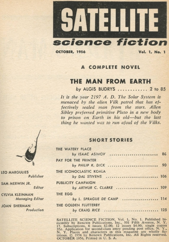 Satellite Science Fiction, October 1956 - table of contents (includes Pay For The Printer by Philip K. Dick)