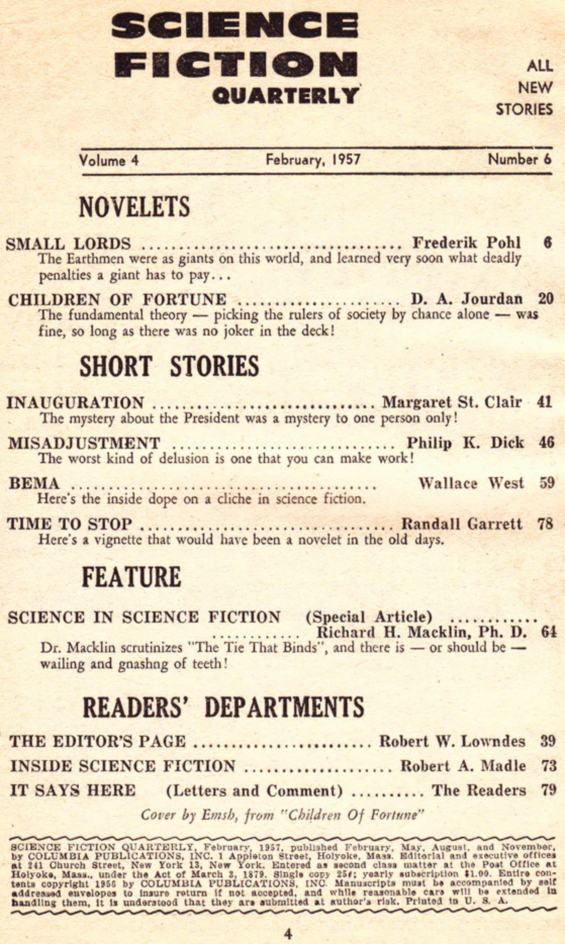 Science Fiction Quarterly, February 1957 - table of contents (includes Misadjustment by Philip K. Dick)