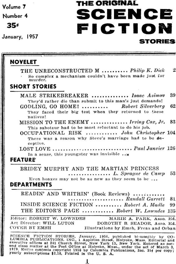 Science Fiction Stories, January 1957 - table of contents (includes The Unreconstructed M by Philip K. Dick)