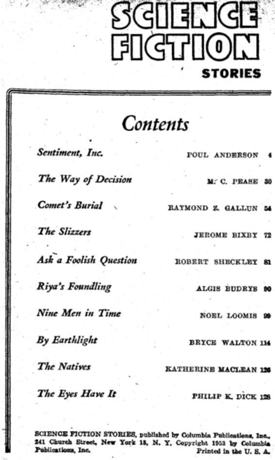 Science Fiction Stories, #1 (1953) - table of contents (includes The Eyes Have It by Philip K. Dick)