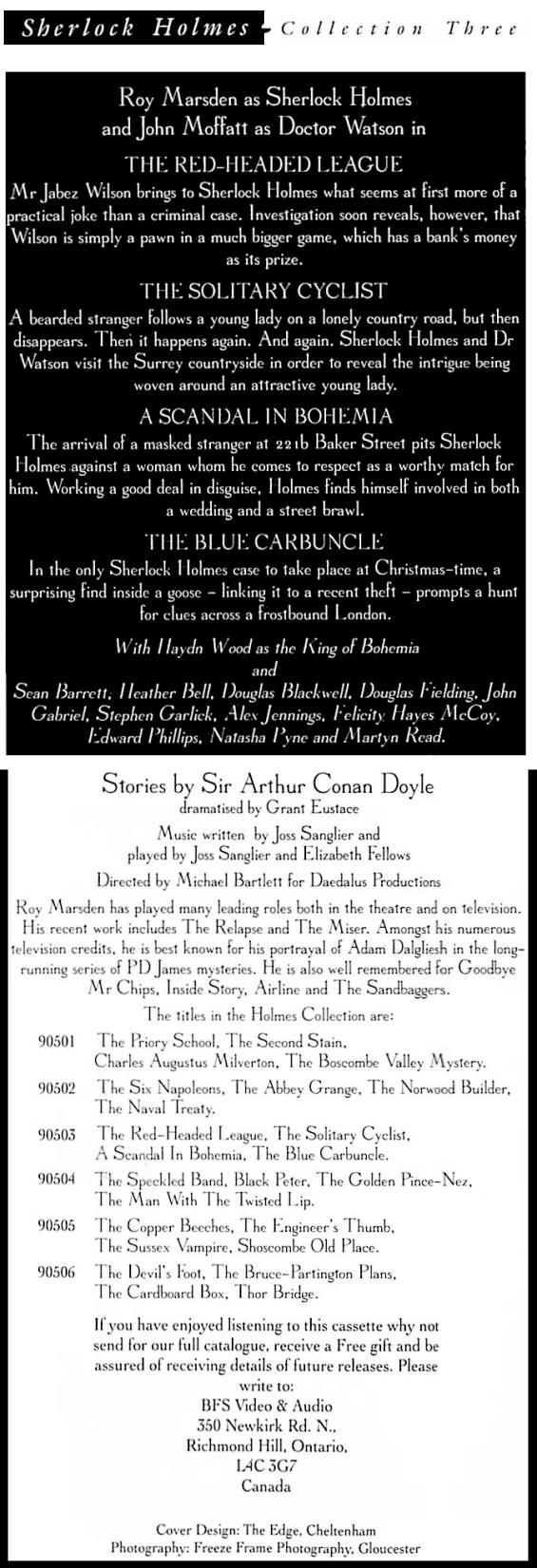 BFS Audio - Sherlock Holmes Collection Three - interior details