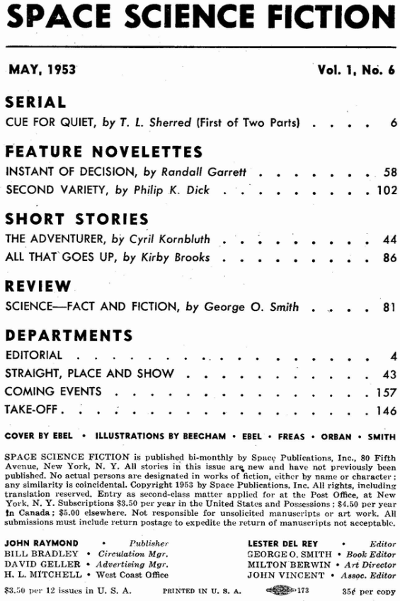 Space Science Fiction, May 1953 - table of contents (includes Second Variety by Philip K. Dick)
