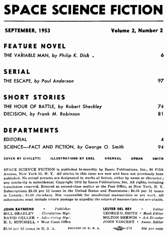 Space Science Fiction, September 1953 - table of contents (includes The Variable Man by Philip K. Dick)