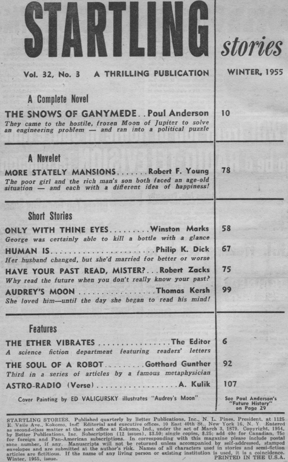 Startling Stories, Winter 1955 - table of contents (includes Human Is by Philip K. Dick)