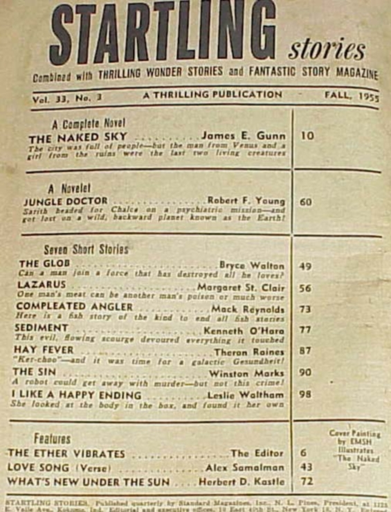 Startling Stories Fall 1955 table of contents