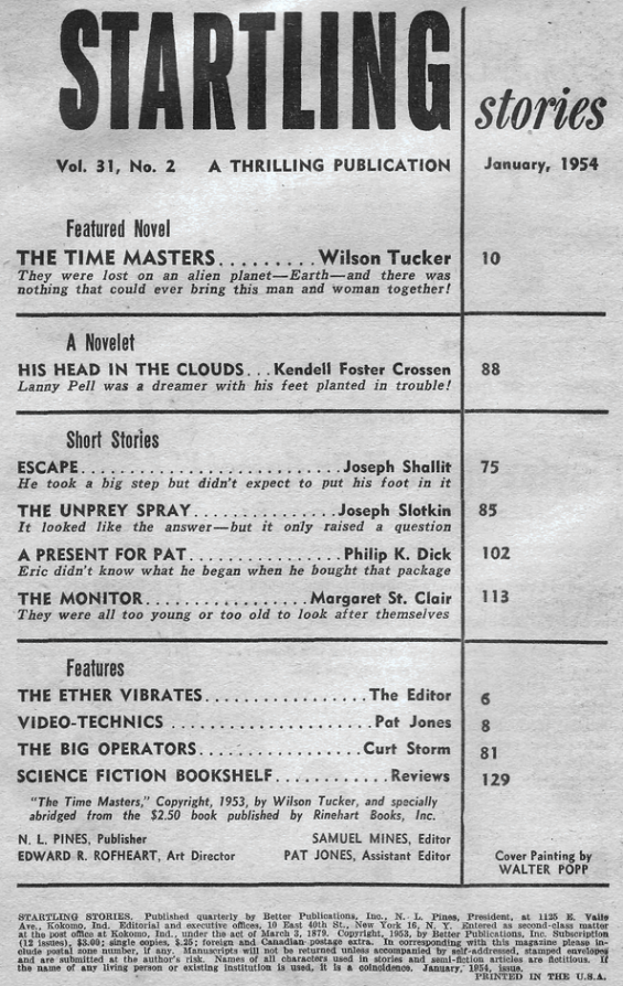 Startling Stories, January 1954 - table of contents (includes A Present For Pat by Philip K. Dick)