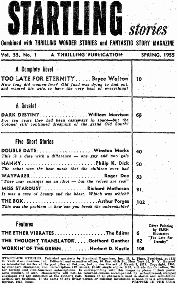 Startling Stories, Spring 1955 Table Of Contents (includes Nanny by Philip K. Dick)