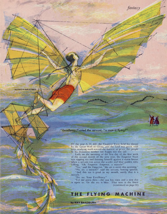 The Flying Machine from Playboy August, 1954 - illustration by Franz Altschuler