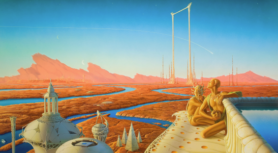 The Martian Chronicles illustration by Michael Whelan