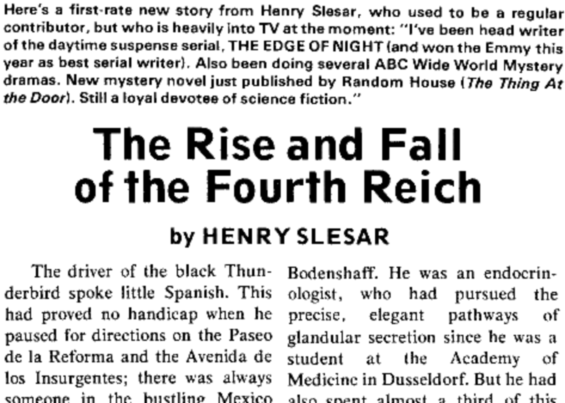 The Rise And Fall Of The Fourth Reich by Henry Slesar - from Fantasy & Science Fiction, August 1975