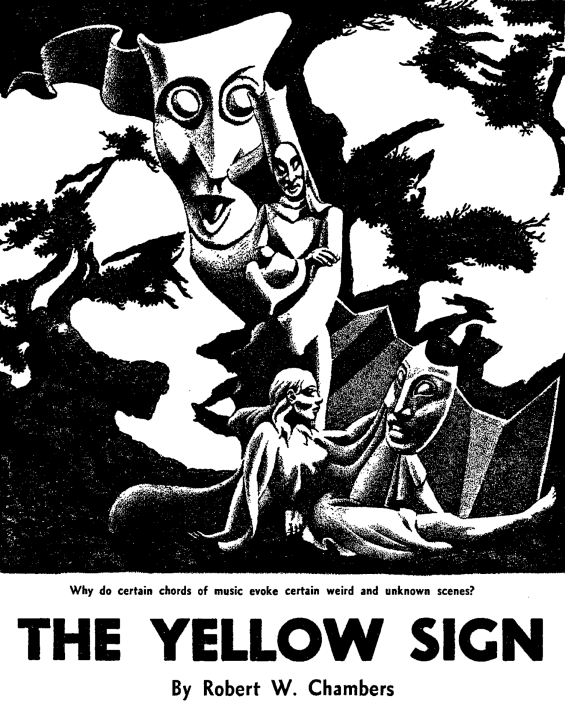 The Yellow Sign - unsigned illustration From Famous Fantastic Mysteries