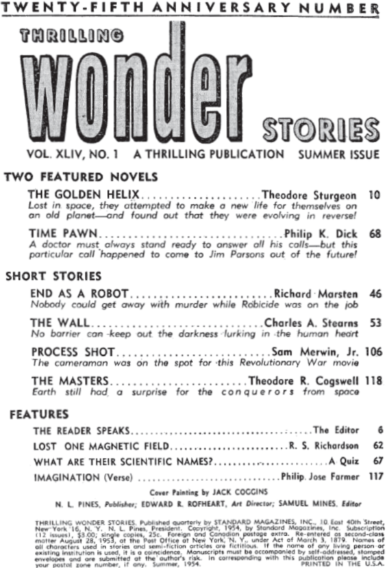 Thrilling Wonder Stories, Summer 1954 - table of contents (includes Time Pawn by Philip K. Dick)