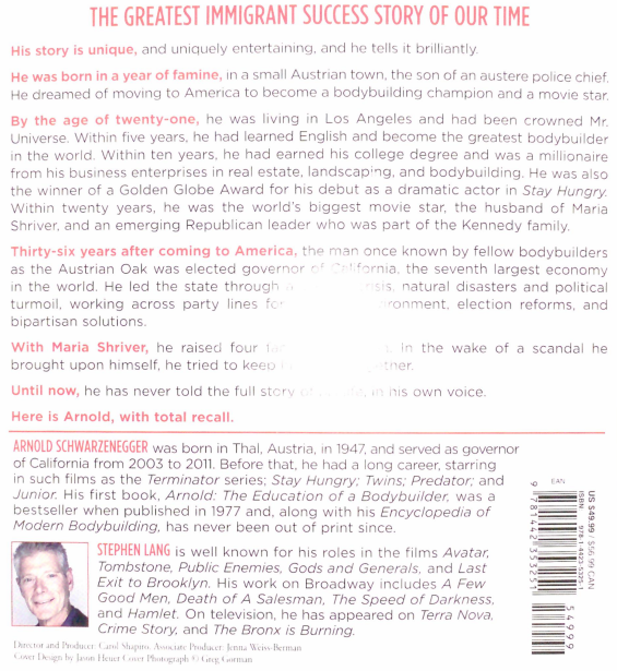 Simon & Schuster Audio - Total Recall by Arnold Schwarzenegger (Back)