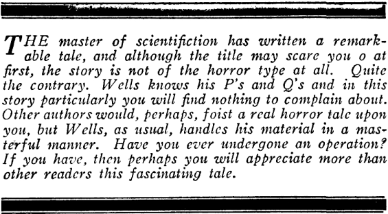 Under The Knife by H.G. Wells - Editorial Introduction by Hugo Gernsback