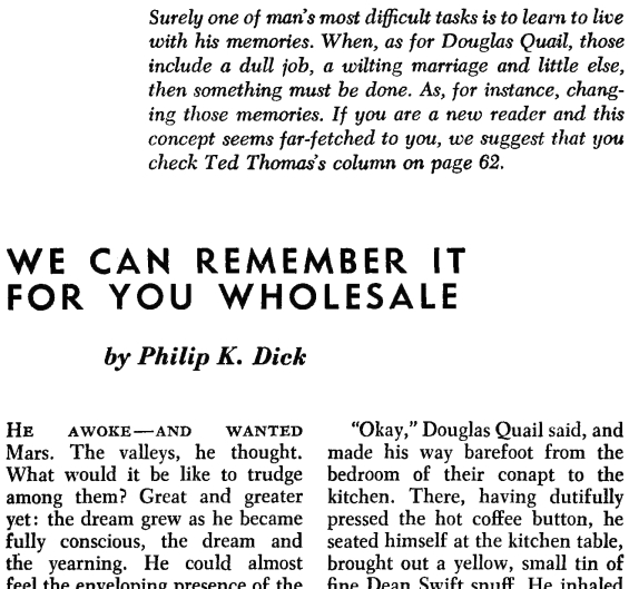 We Can Remember It For You Wholesale - Editorial introduction from F & SF