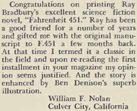 William F. Nolan letter in Playboy, May 1954