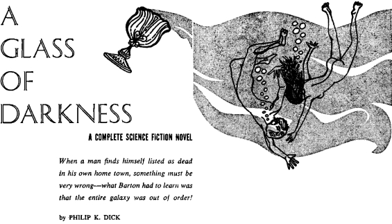 A Glass Of Darkness by Philip K. Dick - Satellite SF, December 1956 interior art
