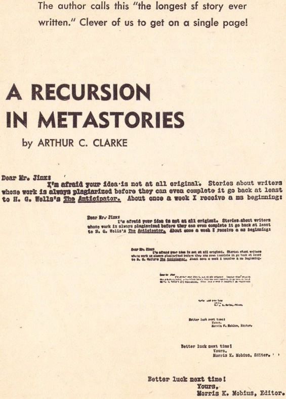 A Recursion Of Metastories by Arthur C. Clarke