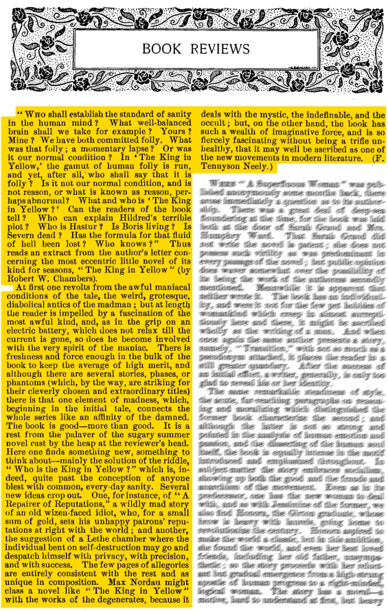 A review of The King In Yellow from Godey's Magazine, June 1895