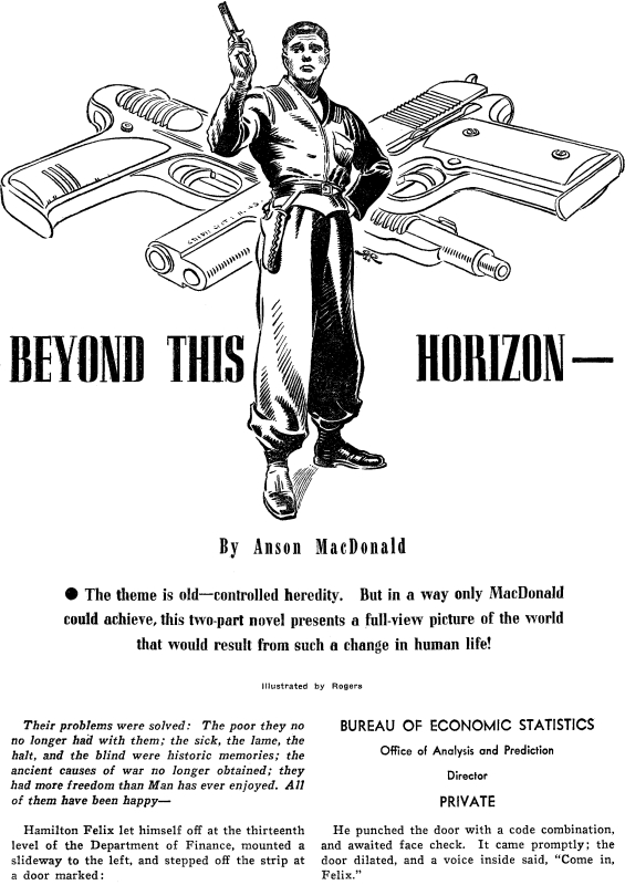 Beyond This Horizon - Astounding Science Fiction April 1942 - illustration by Hubert Rogers