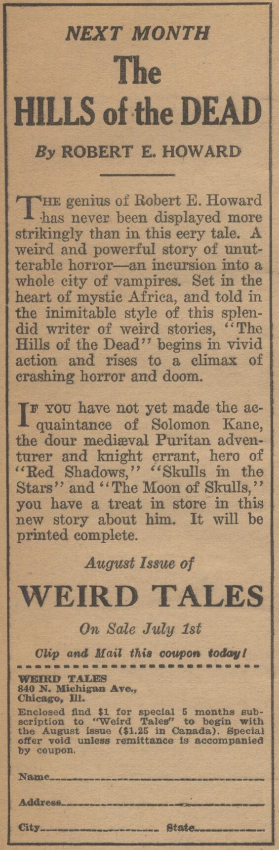 ad for The Hills Of The Dead by Robert E. Howard from WEIRD TALES, July 1930
