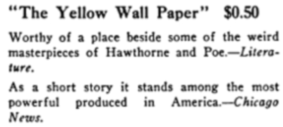 Ad for The Yellow Wall Paper from 1910