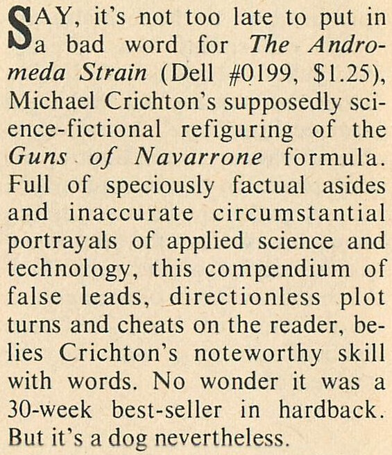Algis Budrys review of The Andromeda Strain