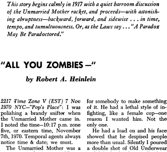 All You Zombies by Robert A. Heinlein - The Magazine of Fantasy and Science Fiction, March 1959