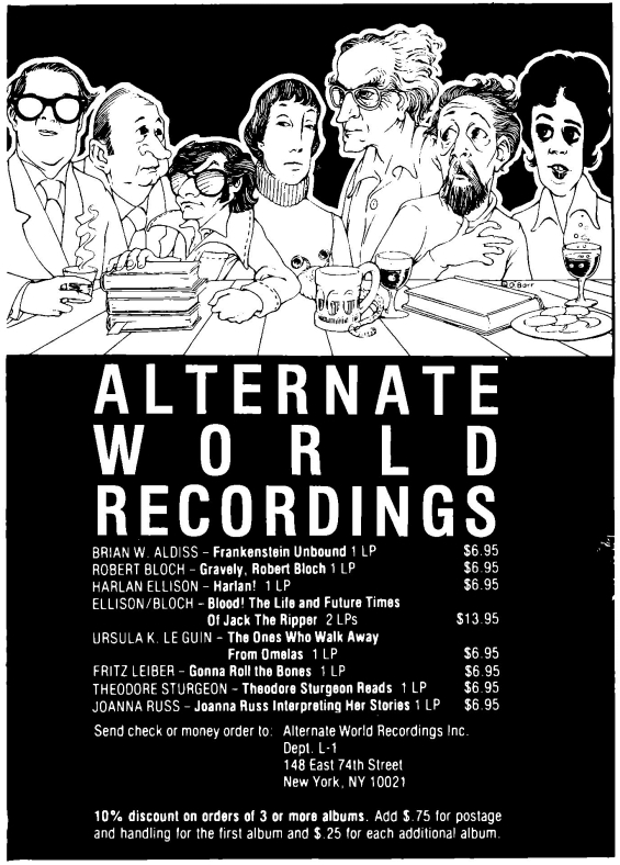 Alternate World Recordings ad from Unearth, Winter 1978