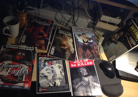comics on Jesse's desk