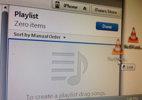 Step 3 - Drag the MP3 file into the now open playlist and click DONE.