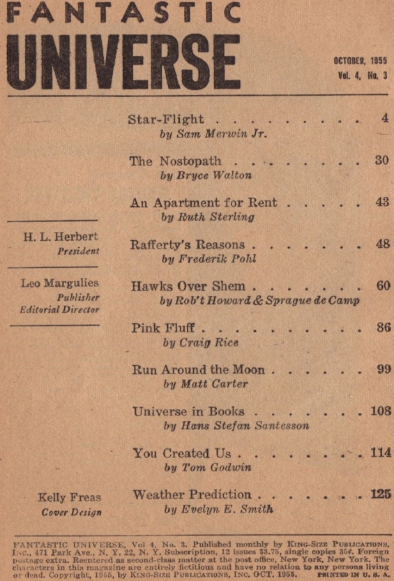 Fantastic Universe, October 1955 table of contents