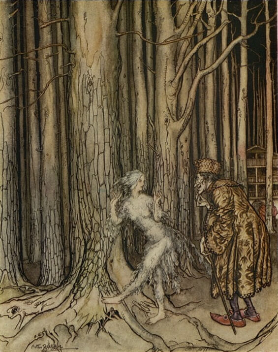 Fitcher's Bird illustration by Arthur Rackham