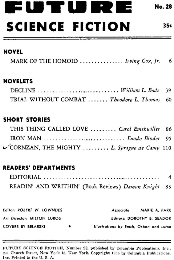 Future Science Fiction 28 (1955) - table of contents