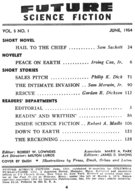 Future Science Fiction, June 1954 - table of contents (includes Sales Pitch by Philip K. Dick)