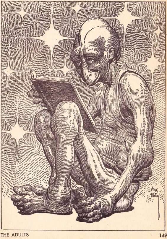 Virgil Finlay's illustrations for PROTECTOR by Larry Niven (aka The Adults) Galaxy June 1967