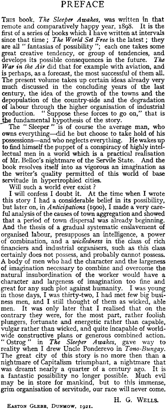 H.G. Wells' 1921 Preface to The Sleeper Wakes